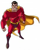 High-angle Full Length Illustration Of A Powerful And Determined Man Wearing Superhero Costume Durin poster