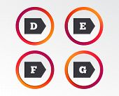 Energy Efficiency Class Icons. Energy Consumption Sign Symbols. Class D, E, F And G. Infographic Des poster