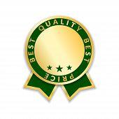 Постер, плакат: Ribbon Award Best Price Label Gold Ribbon Award Icon Isolated White Background Best Quality Golden