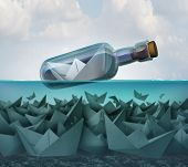 Concept Of Survival And Smart Competition Strategy And Tenacity As A Paper Boat In A Bottle Survivin poster