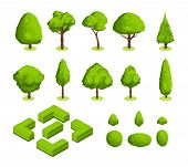 Isometric 3d Vector Park And Garden Trees And Bushes. Green Forest Plants Collection. Green Tree And poster