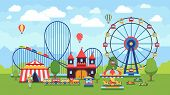 Cartoon Amusement Park With Circus, Carousels And Roller Coaster Vector Illustration. Circus Park An poster