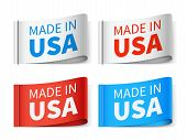 Made In Usa Textile Tags, Fashion Label Vector Set. Usa Tag Label, Made In America Emblem Illustrati poster