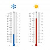Hot And Cold Weather Temperature Symbols. Meteorology Thermometers With Celsius And Fahrenheit Scale poster