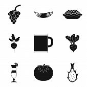 Vegan Tavern Icons Set. Simple Set Of 9 Vegan Tavern Vector Icons For Web Isolated On White Backgrou poster