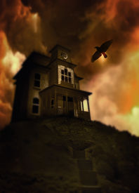 stock photo of horrific  - Spooky looking house on a hill in the syle of Norman Bates house in the movie Pycho - JPG
