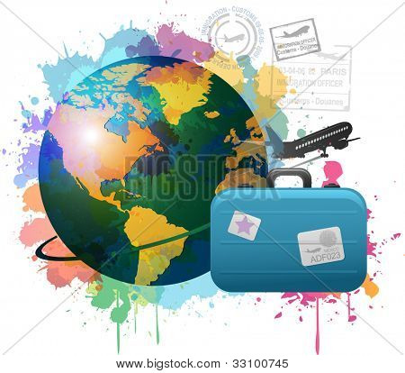 Colorful travel concept paint splat design