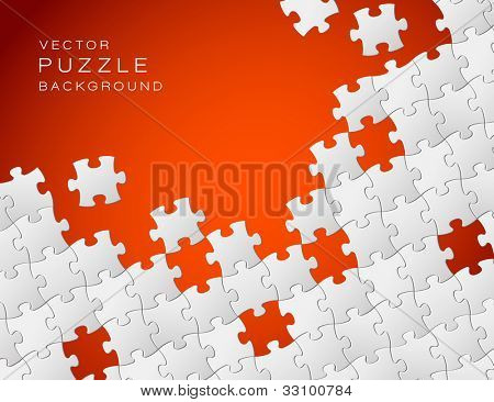 Vector Abstract red background made from white puzzle pieces and place for your content
