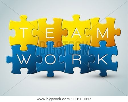 Vector puzzle teamwork illustration - yellow and blue