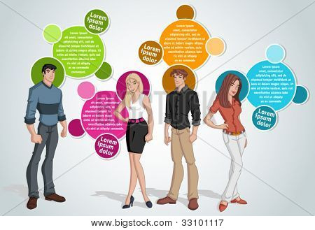 Colorful template for advertising brochure with young people