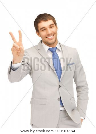 bright picture of handsome man showing victory sign