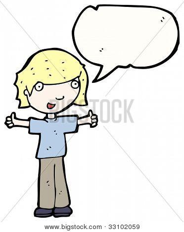 cartoon boy giving thumbs up sign