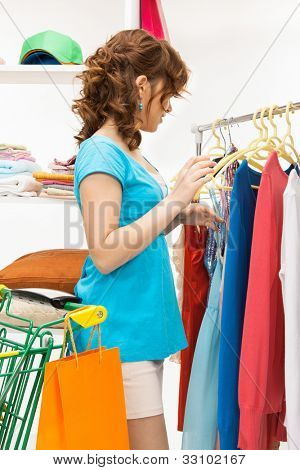 bright picture of lovely woman in shop