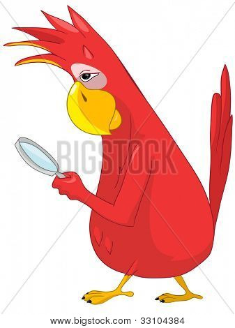 Cartoon Character Funny Parrot Isolated on White Background. Search. Vector EPS 10.
