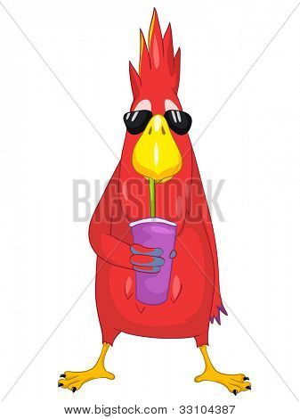 Cartoon Character Funny Parrot Isolated on White Background. Drinking Cocktail. Vector EPS 10.