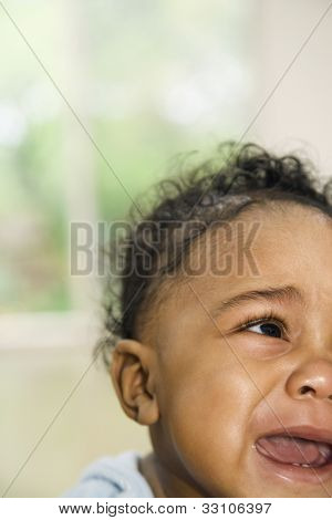 African American baby crying