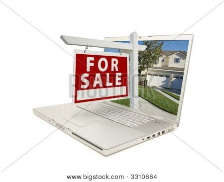 Red For Sale Sign On Laptop