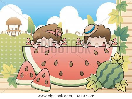 Summer Vacation and Sweet Fruit Slices with cute children on a background of beautiful blue sky and green grass with dot patterns : vector illustration