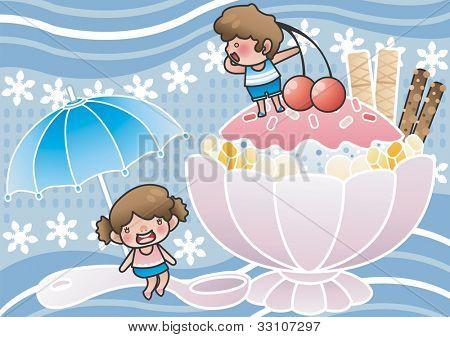 Happy Summer Vacation - genießen Sie süße Eis Snack mit niedlichen kleinen Freunde auf blauem Hintergrund: vector ich