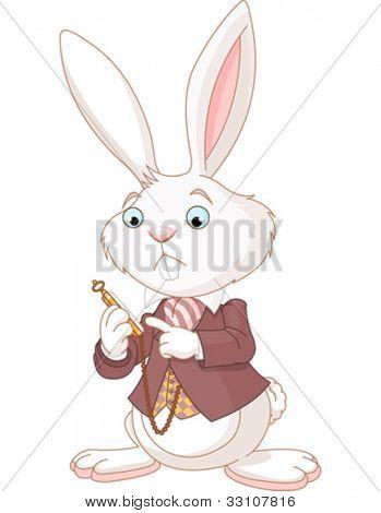 Conejo blanco mirando el reloj de bolsillo