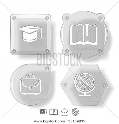Education icon set. Graduation cap, book, briefcase, globe. Glass buttons. Raster illustration.