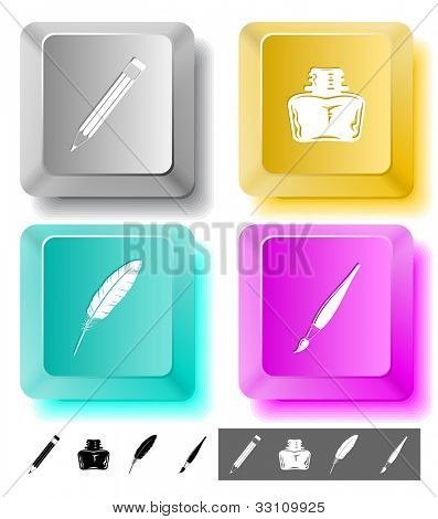 Education icon set. Brush, inkstand, feather, pencil. Computer keys. Raster illustration.