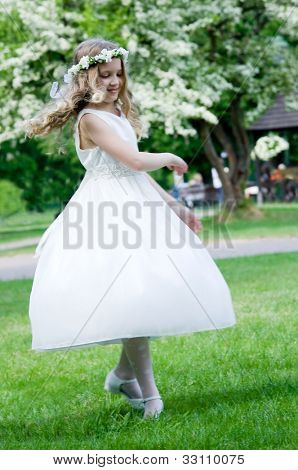 First Communion - happy dance on green background