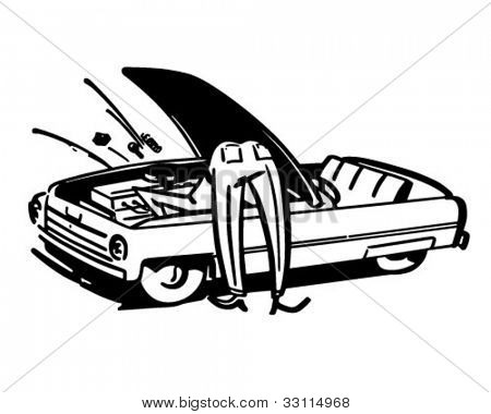 Man Fixing Car - Retro Clipart Illustration