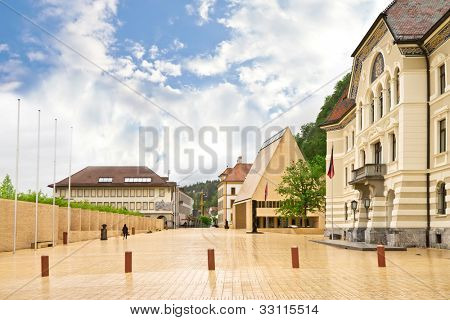 The building of parliaments of Liechtenstein on the main square.  Vaduz. Europe.