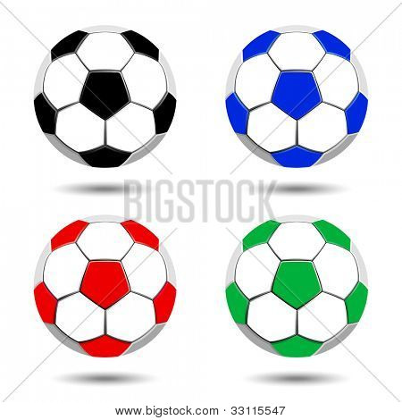 Collection of vector soccer balls isolated on white background.