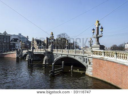 Amsterdam. Famous Blue Bridge Over The River Amstel