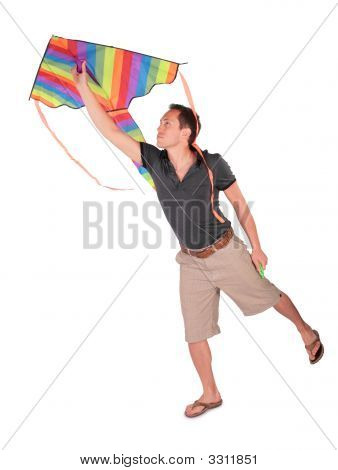 Young Man Starts Kite