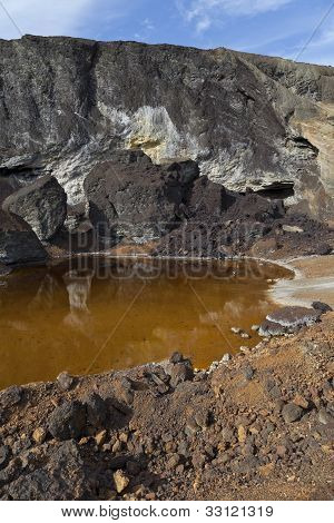 acidic waters in pyrite smelting landfill