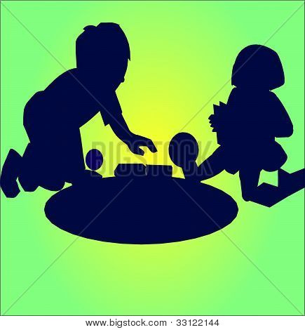 silhouette children play