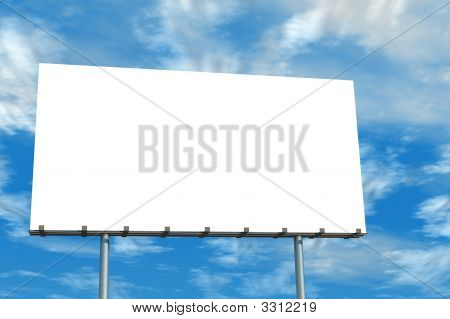 Blank Billboard Blue Sky And Clouds
