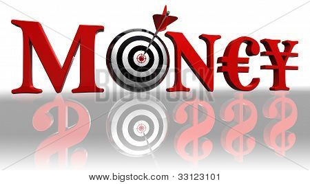 Money Red Word And Concept Target