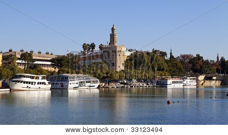 Torre del Oro and Guadalquivir river in Seville