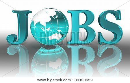 Jobs Word And Blue Earth Globe