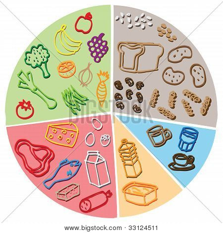 healthy food diagram vector