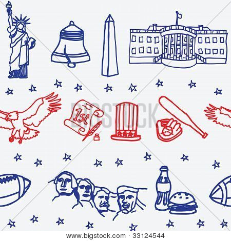 American symbol icons seamless pattern