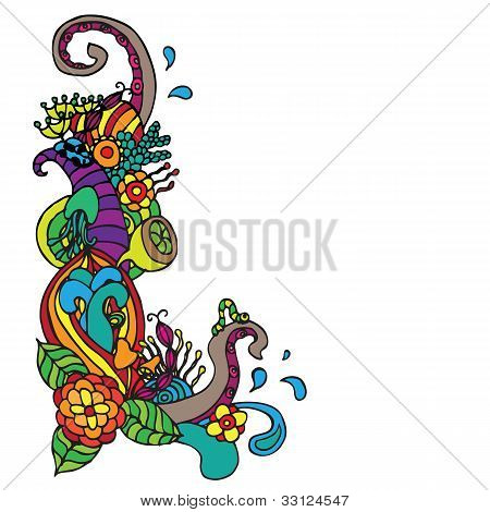 flower ornament corner doodle vector