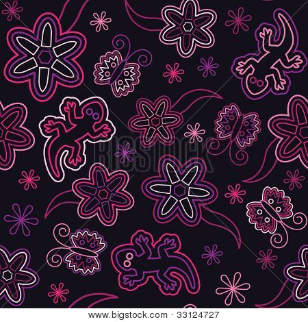 seamless retro flower butterfly lizard pattern