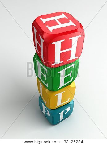 Help 3D Colorful Buzzword