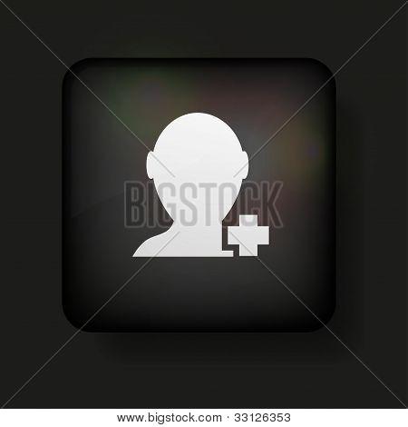 Vector Add Friend Icon On Black. Eps10