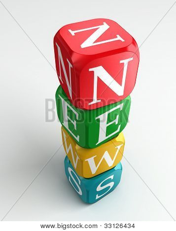News 3D Colorful Buzzword Tower