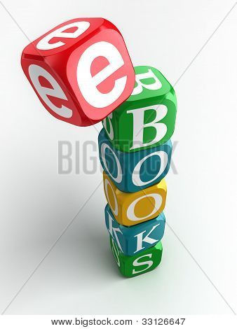 E-books 3D Colorful Cube Tower