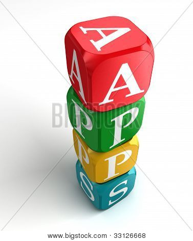 Apps Sign 3D Colorful Box Tower