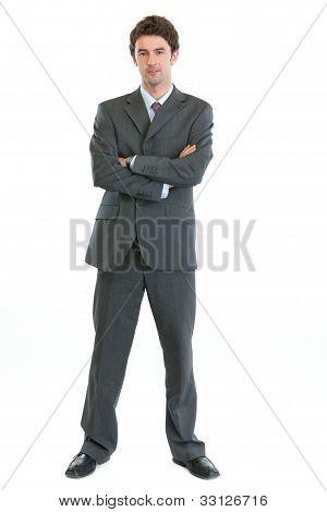 Retrato do comprimento total do empresário moderno autoritário