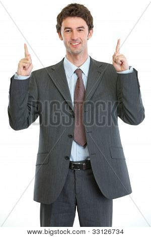 Modern Businessman Pointing Up