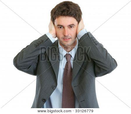 Modern Businessman Hear No Evil